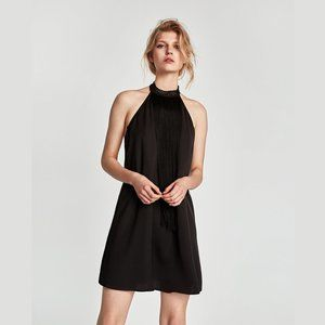 ZARA Black Fringed Halter Dress